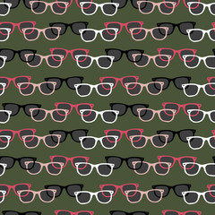 vector pattern with wayfarers on green background
