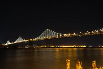 The Bay Bridge by night in San Francisco