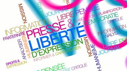 Presse et liberté d'expression nuage de mots coloré texte