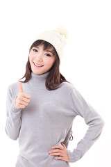 happy woman giving thumb up, fall or winter dress