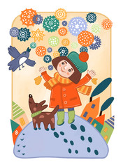 Девочка и снег. Декоративная фантазийная детская  иллюстрация