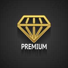 Golden Diamond Logo Design on Gray Background