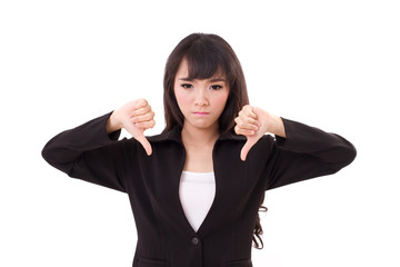 angry, upset businesswoman giving thumb down hand gesture