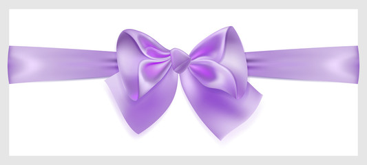 Violet bow with ribbon, located horizontally