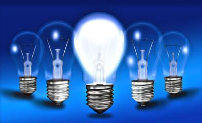 Brainstroming, Geistesblitz, Glühbirnen , Idee Leuchte