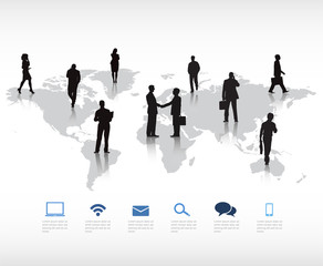 Silhouetts of Multi-Ethnic Business People Around the World