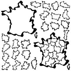 フランス 地図 毛筆イラスト