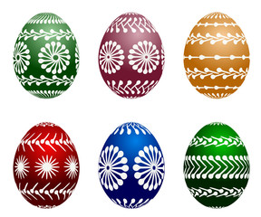 set of six painted easter eggs, vector