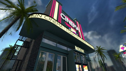 Animation of a cinema movie theater