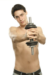 Skinny man training his bicep muscle with a dumbbell, fitness