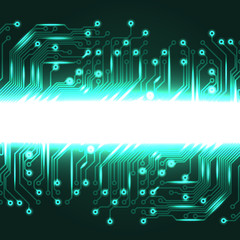 Electronics blue background with circuit board