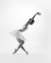 Black and white image of young beautiful ballet dancer