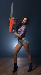 Image of sexy model promotes modern chainsaw