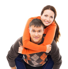 Young and happy Cuacasian couple isolated on white