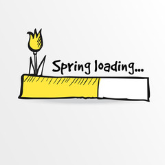 Loading bar with a doodle tulip flower, spring concept, vector