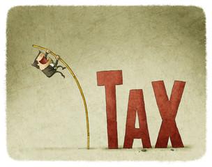jump over a tax with a pole