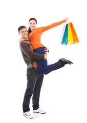 Happy man holding his woman isolated on white