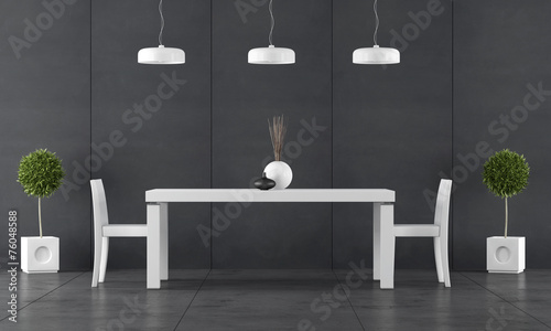 canvas print picture Black dining room with wall blackboard paneling