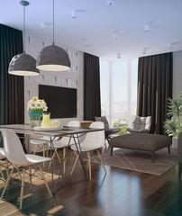 Modern loft Living room interior.