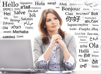 Businesswoman or a teacher in office. Different world languages
