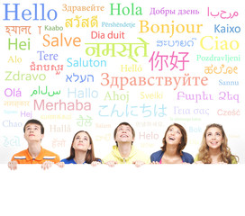 Group of teenagers on a background on words