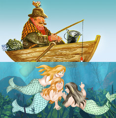 Fisherman fell asleep while mermaids smiling underwater