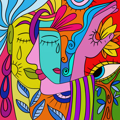 Abstract with colorful faces