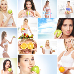 Collage made of many different pictures: sport, fitness, health