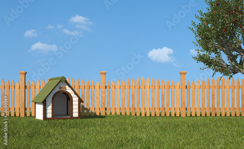 Fotobehang Tuin Kennel on grass in the garden