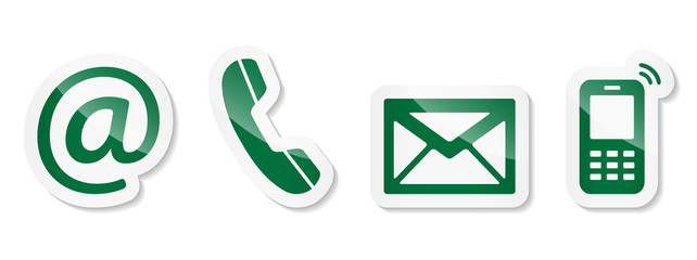 Contact Us – Green sticker icons