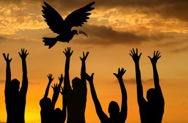envol de la colombe de la paix au coucher de soleil