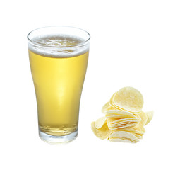 glass of light beer and potato chip isolated on a white backgrou