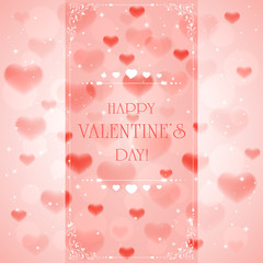 Pink Valentines background with hearts