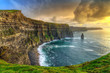 Leinwanddruck Bild - Cliffs of Moher at sunset, Co. Clare, Ireland