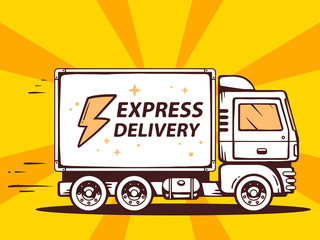 Vector illustration of truck free and fast express delivering to