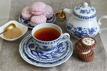 Tea break with white-blue porcelain.