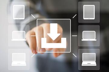 Businessman pushing web button download communication computer.