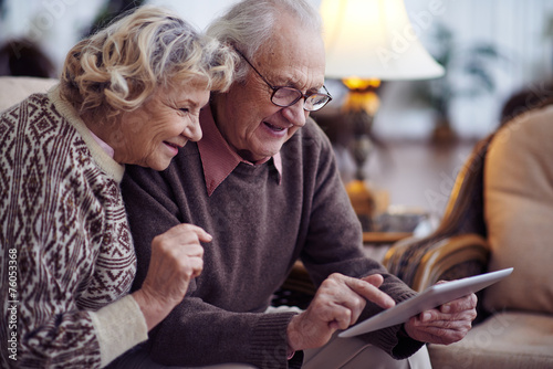 Senior couple networking - 76053368