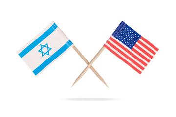 Crossed mini flag USA and Israel