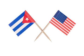Crossed mini flag USA and Cuba