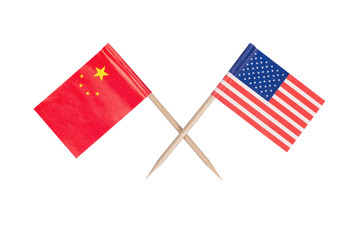 Crossed mini flag USA and China