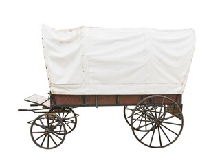 Covered wagon on white