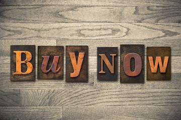 Buy Now Concept Wooden Letterpress Type