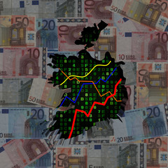 Ireland map with hex code and graphs on euros illustration