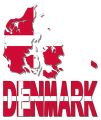 Denmark map flag and text illustration