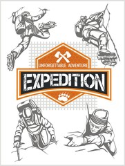 Rock climbing expedition. Vector set - expeditions emblem and