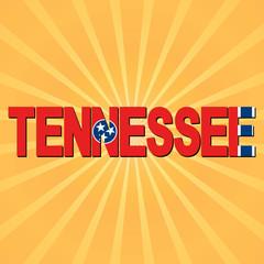 Tennessee flag text with sunburst illustration