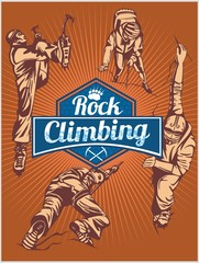 Rock climbing. Vector set -  emblem and climbers.