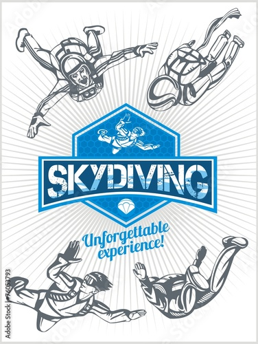 Skydiving. Vector set - emblem and skydivers.