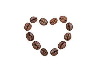 Empty coffee beans heart shape